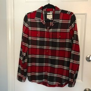 American Eagle Classic Fit Red Black Flannel Small